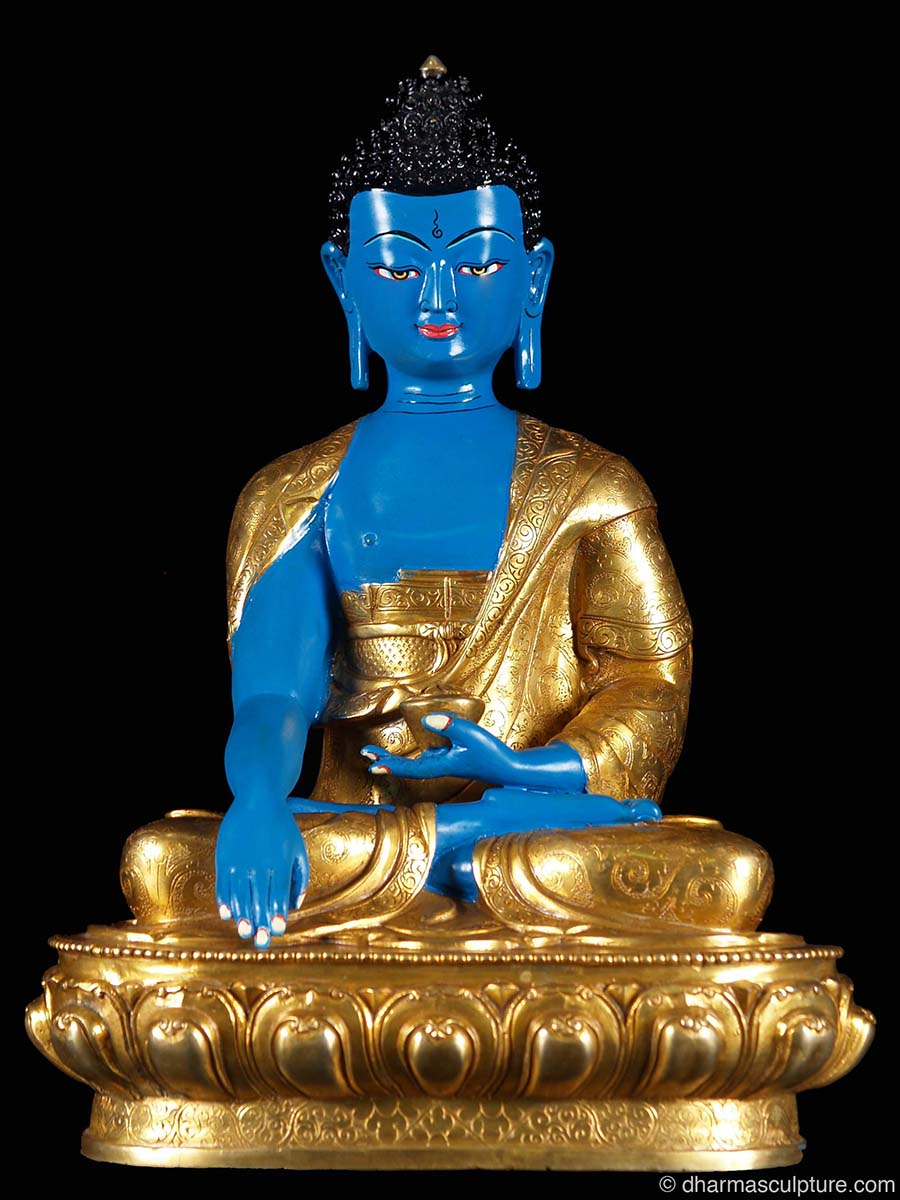 "Hand Painted Copper Shakyamuni Buddha Statue 13"""