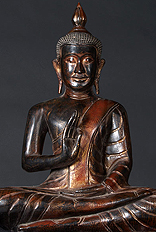 Cambodian Wood Buddha Statue, Earth Touching Gesture