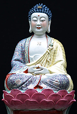 Padmasana, Earth Touching Porcelain Buddha Statue