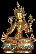 Masterpiece Gold Plated Copper Green Tara Statue 20&quot;