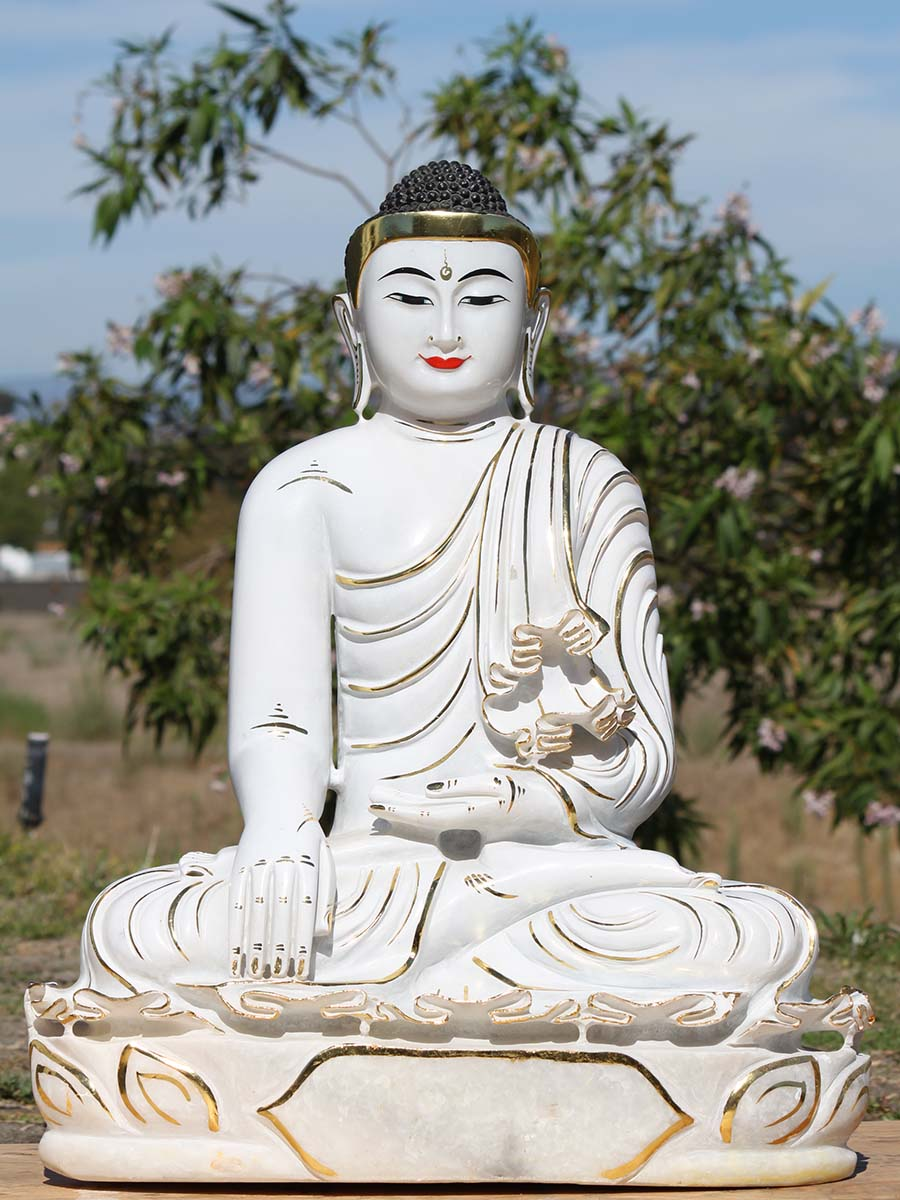 burmese white marble buddha statue 1bm3