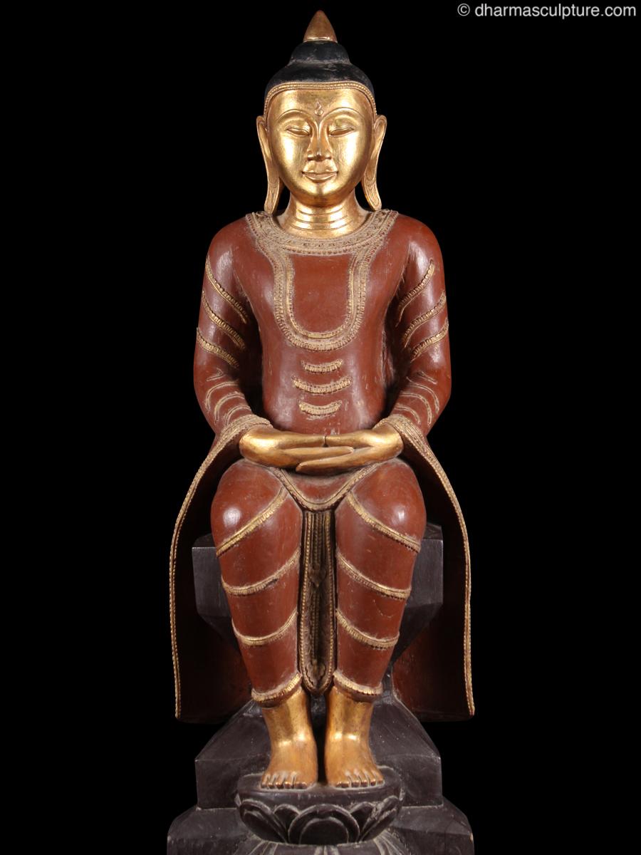 Seated Burmese Meditating Buddha Statue 1mw21