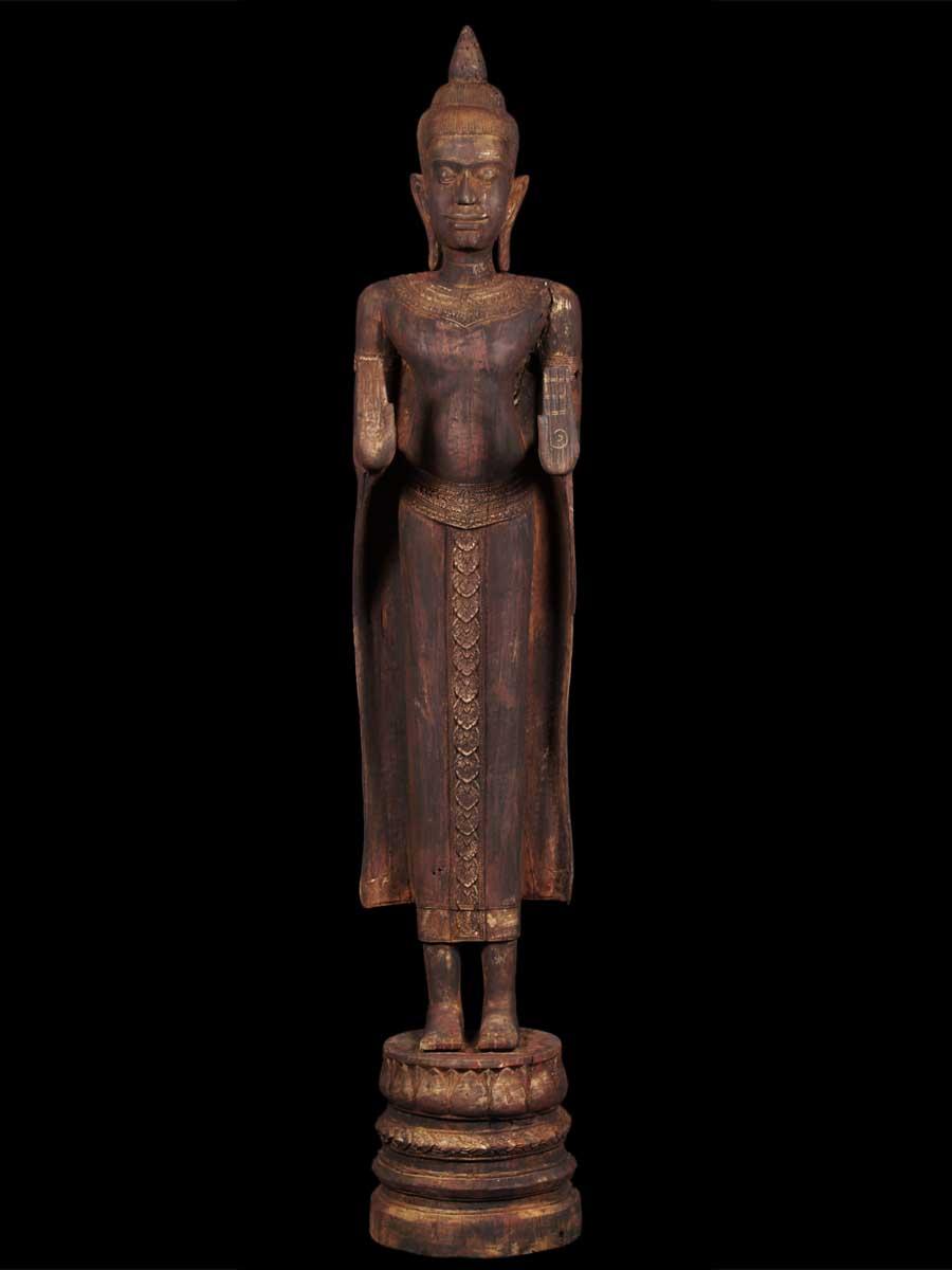 Large antique wood khmer buddha statue 3c7