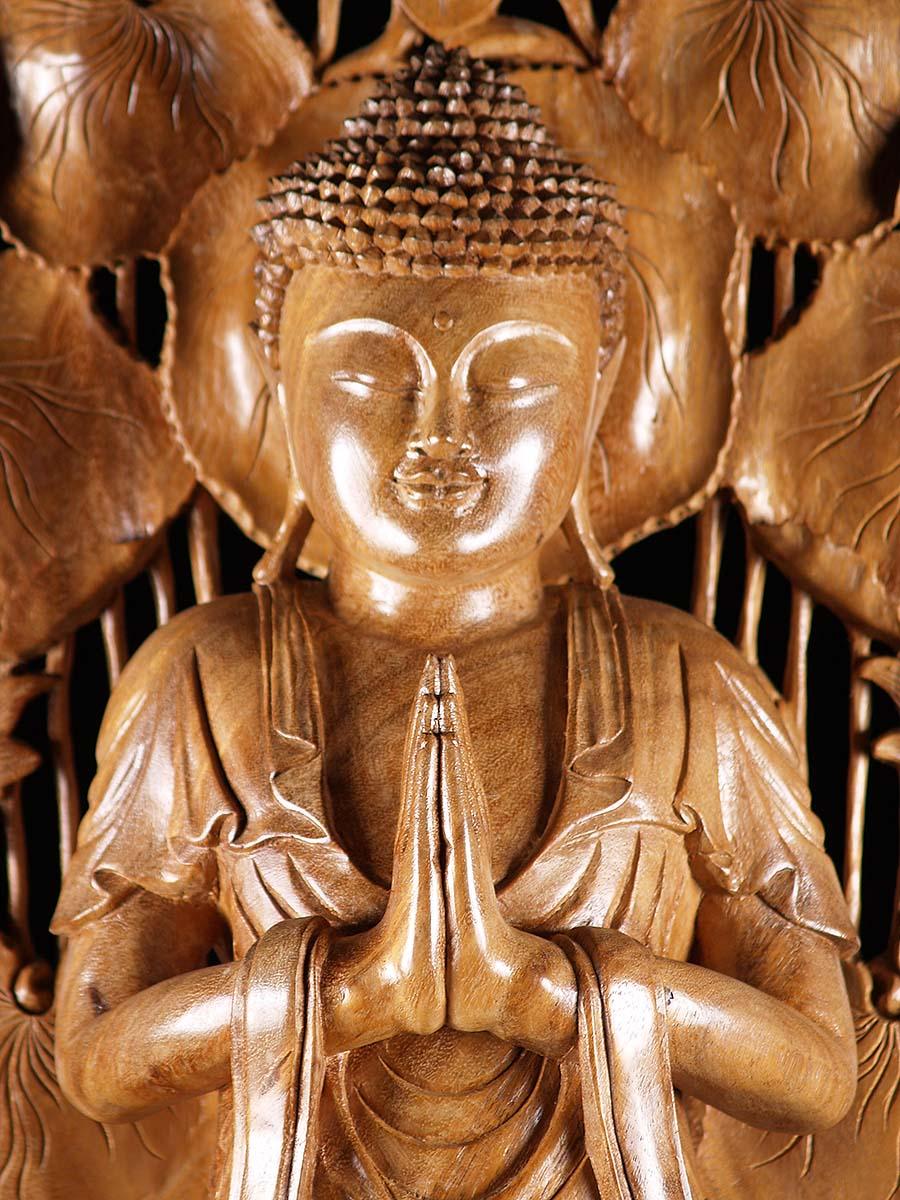 Namaste Mudra Buddha Statue With Lotus Arch 4b44