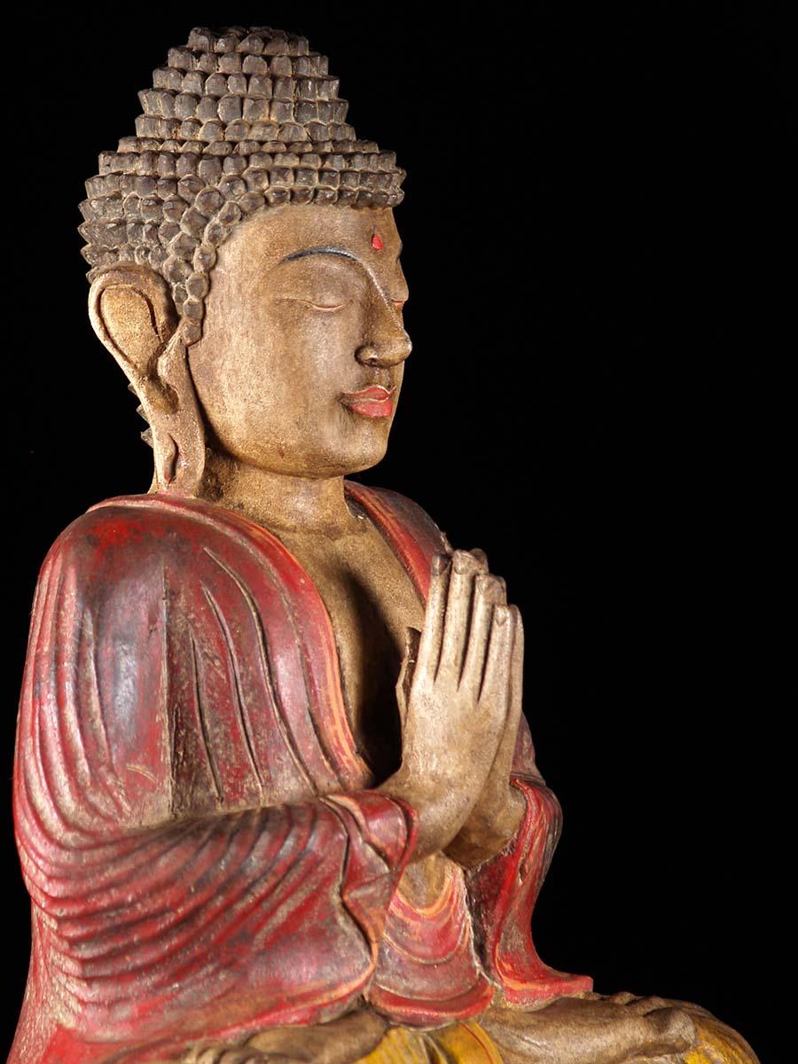 Namaste Mudra Hand Carved Wood Buddha Statue 4b7