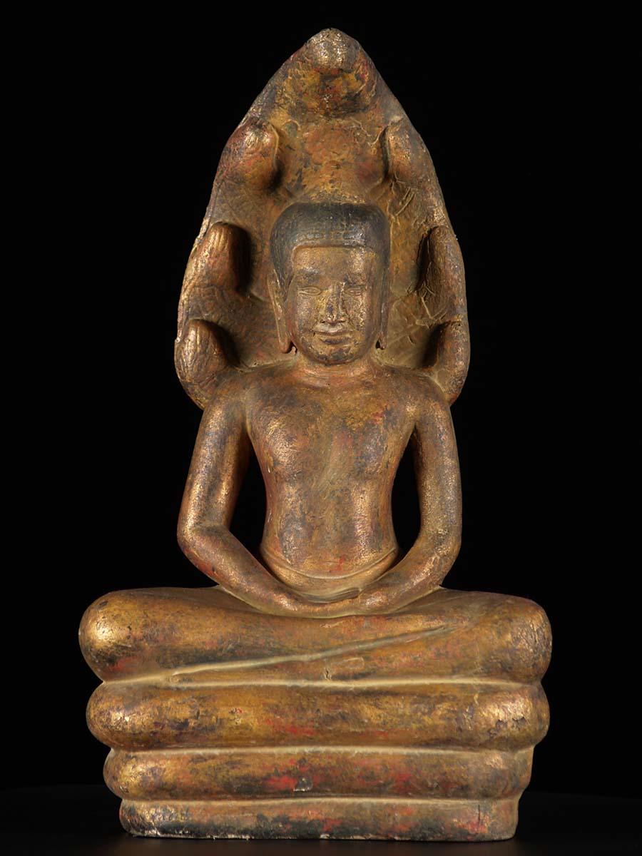 Antique Finish Khmer Muchalinda Buddha Statue 4c175