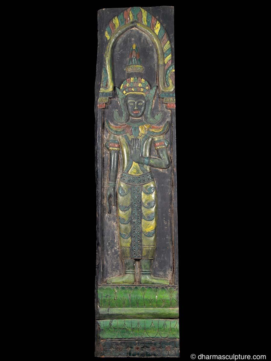 Large Buddha Panel: Large Cambodian Wood Buddha Panel (4c192