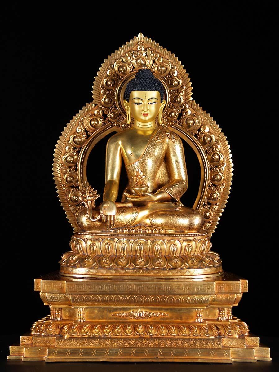masterpiece gold plated copper medicine buddha statue 6n1